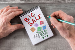 Big sale concept on a notepad Royalty Free Stock Photos