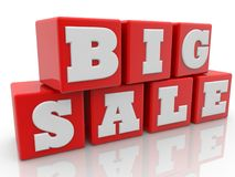 Big sale concept on red cubes.3d illustration. In backgrounds Stock Photography