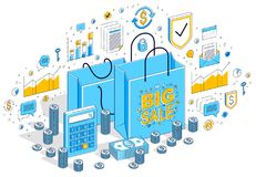 Big Sale concept, Retail, Sellout, Shopping Bag with cash money. Stacks isolated on white background. Vector 3d isometric business illustration with icons Royalty Free Stock Photography