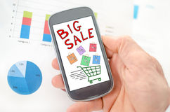 Big sale concept on a smartphone Royalty Free Stock Photography