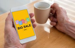 Big sale concept on a smartphone Stock Images