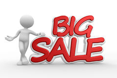 Big sale. 3d people - man, person and text Big sale Stock Image
