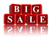Big sale in 3d red cubes. Big sale - text in 3d red cubes with white letters, business shopping concept words Stock Photo