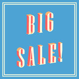 Big sale 3D text on blue background Royalty Free Stock Images