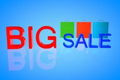 Big sale 3d. Big sale text in 3d with shopping bags behind it Royalty Free Stock Photo