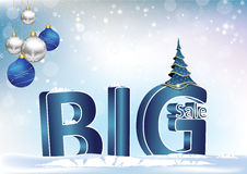 Big sale 3D text - winter holiday blue background Royalty Free Stock Images
