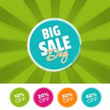 Big Sale Day color banner and 10%, 20%, 30% & 40% Off Marks. Vector illustration. Eps10 Vector Royalty Free Stock Image