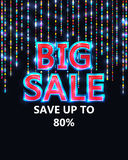 Big sale decor line colorful RGB. This illustration is design bright Big Sale in dark background Stock Images