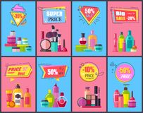 Big Sale for Decorative and Skincare Cosmetics. Promotional posters set. Makeup means and tools vector illustrations on discount announcement banners Royalty Free Stock Photo