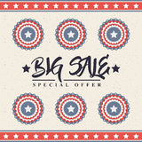 Big sale design. Big sale card with decorative objects with usa flag colors. colorful design. vector illustration Royalty Free Stock Photos