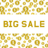 Big sale. Design a flyer or banner.  Flat style. Big sale. Design a flyer or banner. Gold letters on a background of falling coins with dollar sign. Vector Stock Images