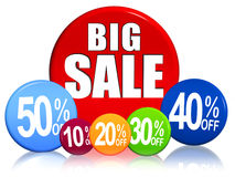 Big sale, different percentages in circles Royalty Free Stock Photos