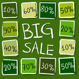 Big sale and percentages in squares - retro green label Stock Photography