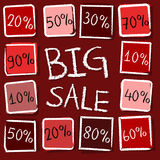 Big sale and percentages in squares - retro red label Stock Photo