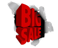 Big sale discount advertisement. Hole with sale text (vector Royalty Free Stock Image