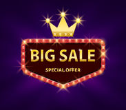 Big sale discount banner with red lights frame vector illustration. Frame banner big sale, promotion offer with gold. Crown. EPS 10 royalty free illustration