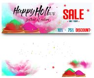 Big Sale with 75% discount and big offer with colorful floral website header or banner set for indian festival holi Royalty Free Stock Photos