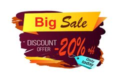Big Sale Discount -20 Image Vector Illustration. Big sale discount offer -20 off, only today, image with yellow stripe and title, price tag and background vector royalty free illustration