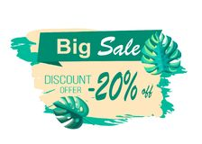 Big Sale and Discount Offer with 20 Off Banner. Big sale and discount offer 20 off banner. Summer promotional poster with tropical plants leaves. Seasonal deal Royalty Free Illustration