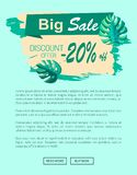 Big Sale and Discount Offer with 20 Off Banner. Big sale and discount offer 20 off banner. Summertime promotional poster with tropical plants leaves. Seasonal royalty free illustration
