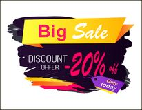 Big Sale Discount Offer -20 Vector Illustration. Big sale discount offer -20 only today, creative advertisement with headline and price tag with phrase on it on vector illustration