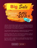 Big Sale Discount Offer Only Today -20 Off Autumn. Best choice label on vector poster, advertisement promo banner with text, landing page design Stock Image