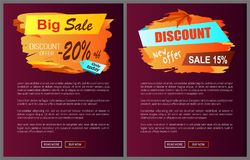 Big Sale Discount Offer Only Today -20 Off Autumn. Best choice labels on vector posters, advertisement set promo banners with text, landing page design Royalty Free Stock Image