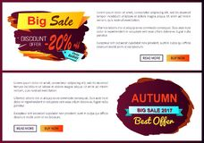 Big Sale Discount Offer Only Today -20 Off Autumn. Best choice labels on vector posters, advertisement set promo banners with text, landing page design Royalty Free Stock Photography