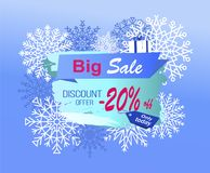 Big Sale Discount Offer Only Today -20 Off Vector. Big sale discount offer only today -20 off promo advertisement banner on background of snowflakes and gift box Stock Photos