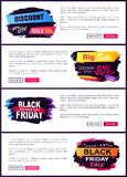 Big Sale Discount Offer -20 Vector Illustration. Big sale discount offer -20 only today, black Friday 2017, web sites set with text sample and headlines on royalty free illustration