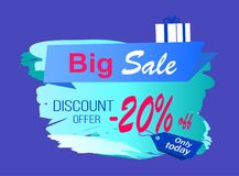 Big Sale Discount Offer Vector Illustration Label. Big sale discount offer -20 off on icy sign decorated with gift box in wrapping paper. Vector illustration stock illustration