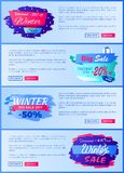 Big Sale Discount Offer -20 Vector Illustration. Big winter sale discount offer -20 only today, set of pages for website with headlines, including text sample royalty free illustration