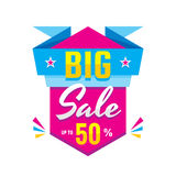 Big sale discount up to 50% - creative banner on white background. Vector illustration. Abstract advertising promotion layout.  Royalty Free Stock Image