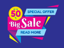 Big Sale discount up to 50% - vector concept illustration in flat style. Special offer origami creative badge. Advertising promotion banner. Abstract graphic Royalty Free Stock Photos
