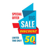 Big sale discount up to 50%, vertical origami banner vector illustration. Special offer abstract promotion concept layout. Royalty Free Stock Photo