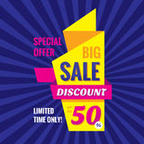 Big sale discount up to 50% - vertical origami banner vector illustration. Special offer abstract promotion concept layout. Royalty Free Stock Photos