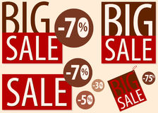 Big sale discounts signboard advertisement poster retro icons set with figures. Vector illustration, isolated on light background. Bussines advertisement Royalty Free Stock Photos