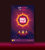 Big Sale Diwali Poster. Design With 50% Discount Tag Vector Illustration