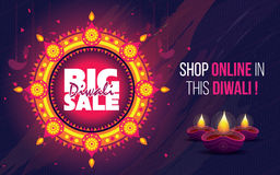 Big Sale Diwali Poster. Design With 50% Discount Tag Vector Illustration