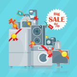 Big Sale in Electronics Store Vector  Flat Concept. Big sale in electronics store concept. Group of different home technics with label and price tag flat vector Stock Photos
