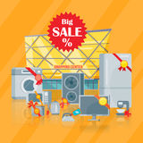 Big sale in Electronics Store Vector Flat Concept Stock Photography