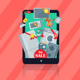 Big Sale in Electronics Store Vector Flat Concept Royalty Free Stock Photography