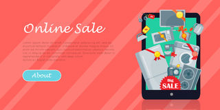 Big Sale in Electronics Store Vector Flat Concept Royalty Free Stock Images