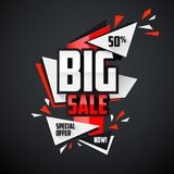 Big sale explode web promotion banner. Modern triangle shapes big sale banner template for promotion, sales, advertising, special offers, web and mobile usage Stock Photos