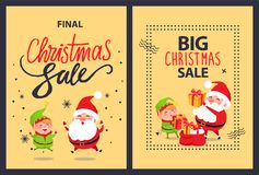 Big Sale Final Christmas Discounts Posters Set Elf. Big sale final Christmas discounts posters set with elf in green costume and Santa Claus putting presents Royalty Free Stock Photos