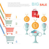 Big sale flat illustration. competition racing on perforated shopping carts for disconts Stock Images