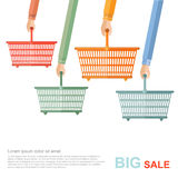 Big sale flat illustration. hands hold of perforated shopping baskets on white Stock Photo