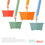 Big sale flat illustration. hands hold of shopping baskets isolated on white Royalty Free Stock Photo