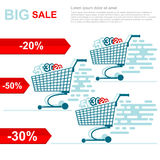 Big sale flat illustration. racing on shopping carts with discounts 20 50 30 on white. Background stock illustration