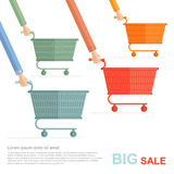 Big sale flat illustration. racing on shopping carts  on white Stock Images